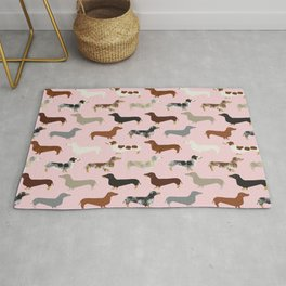 Dachshund doxie pet portrait hot dog weener dog breed funny small dogs puppy gifts for dachshund  Rug