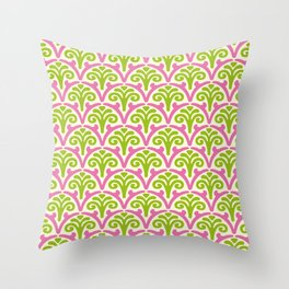 Floral Scallop Pattern Chartreuse and Pink Throw Pillow