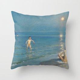 Boys Bathing At Skagen. Summer Evening - Digital Remastered Edition Throw Pillow