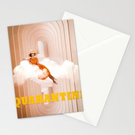 Quarantine woman Stationery Cards