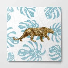 LEOPARD AND LEAVES Metal Print