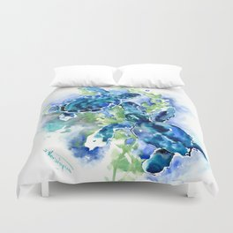 Sea Turtle Turquoise Blue Beach Underwater Scene Green Blue design Duvet Cover
