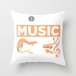 Jazz Music Guitarist Saxophonist Blues Musician Throw Pillow