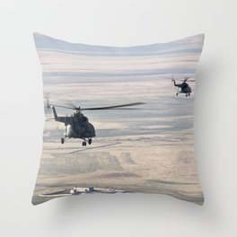 Rescue helicopters fly Expedition 16 crew to Kustanay Kazakhstan shortly after their Soyuz TMA-11 sp Throw Pillow
