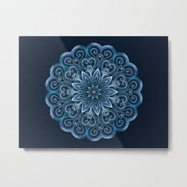 Blue Water Mandala Swirl Metal Print