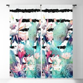 Pretty watercolor cactus floral and stripes design Blackout Curtain