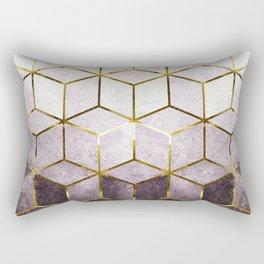 Elegant Geometric Purple Cubes with Gold Lining Rectangular Pillow