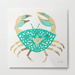 Crab – Turquoise & Gold Metal Print