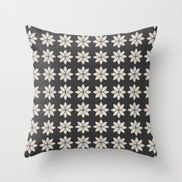Flower Petals, Cream on Dark Charcoal Throw Pillow