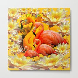 YELLOW WATER LILIES & SAFFRON FLAMINGOS Metal Print