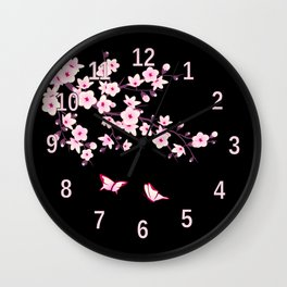 Cherry Blossom Pink Black Wall Clock