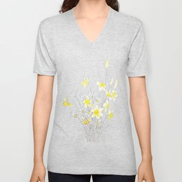 white daisy and yellow daffodils ink and watercolor Unisex V-Neck