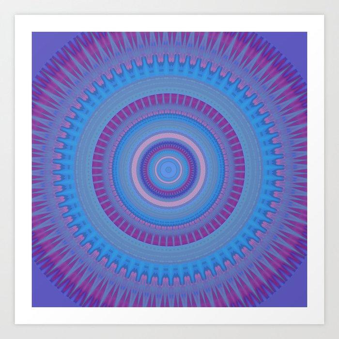 Electric Purple Blue Mandala Art Print
