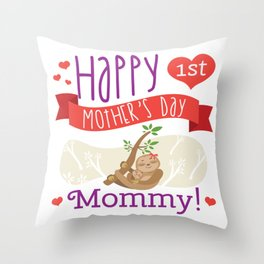 Happy Mothers Day Message Sloth Mom Grandma Gift Throw Pillow