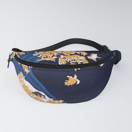 Shiba Inu The Great Wave in Night Fanny Pack