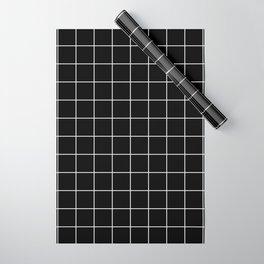 Grid Pattern Square Line Stripe Black White #12 Stripes Lines Wrapping Paper