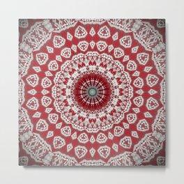 Red White Bohemian Mandala Design Metal Print