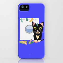 Cat with washing machine   iPhone Case
