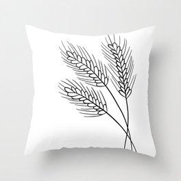 Minimalist Wheat Line Drawing Throw Pillow