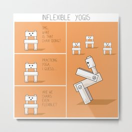 Funny yoga comic strip with chairs Metal Print