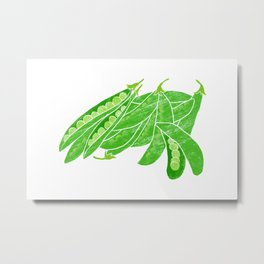 Illustration of fresh snow peas Metal Print