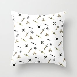 Kunai & Shuriken Japanese Ninja Design Pattern Throw Pillow