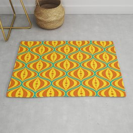 Retro Psychedelic Saucer Pattern in Orange, Yellow, Turquoise Rug