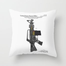 AR-15 Semi-Automatic Rifle Patent Throw Pillow