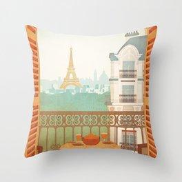 Paris, France - Travel Poster Throw Pillow