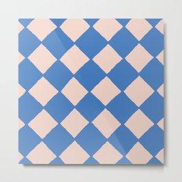 Blue Checkerboard Pattern Metal Print