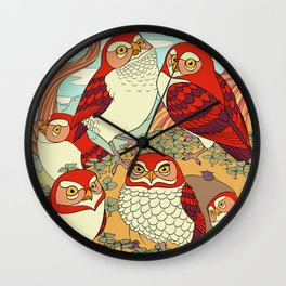 Burrowing Owl Family Wall Clock