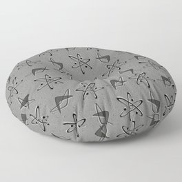 Atoms and Boomerangs on Gray Floor Pillow