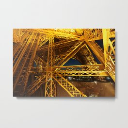 Lit Up Eiffel Tower Metal Print