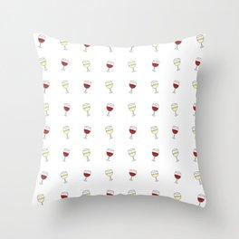 Red Wine, White Wine Throw Pillow