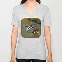Mallard Ducks in Flight Unisex V-Neck