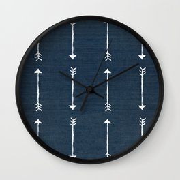 RUSTIC DENIM ARROWS . BLUE + WHITE Wall Clock