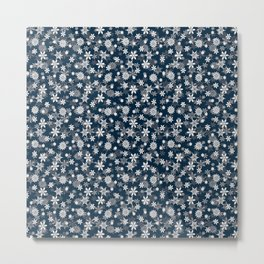 Festive Midnight Blue and White Christmas Holiday Snowflakes Metal Print
