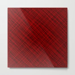 Fluttering ornament of their red threads and dark intersecting fibers. Metal Print