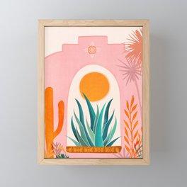 The Day Begins / Desert Garden Landscape Framed Mini Art Print