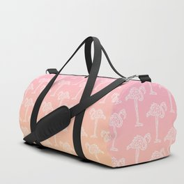Modern tropical white geometric flamingo on sunset ombre pink orange gradient Duffle Bag