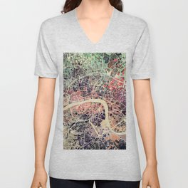 London Mosaic Map #1 Unisex V-Neck
