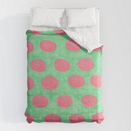 Pink and Green Polka Dots Comforters