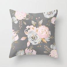 Night Rose Garden Gray Throw Pillow