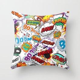 Comic Book Shout Outs Pop Art Fun Typographic Cartoon Design Throw Pillow