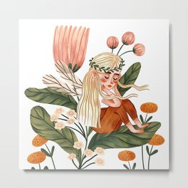 Flower Fairy Metal Print