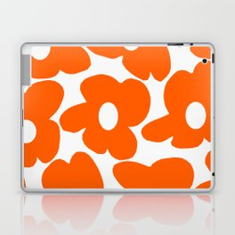 Orange Retro Flowers White Background #decor #society6 #buyart Laptop & iPad Skin