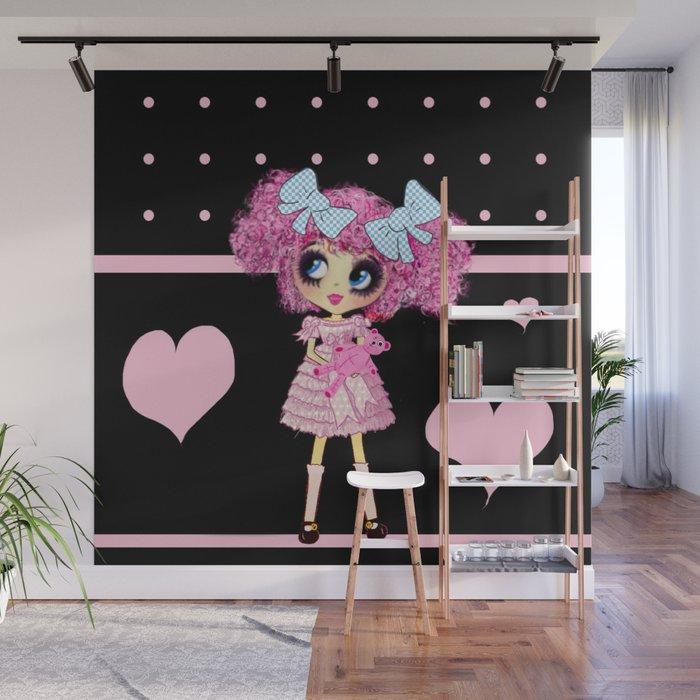 Kawaii Girl Pinkyp Cute Black Pink Heart Lolita Wall Mural By Cartoonist Society6