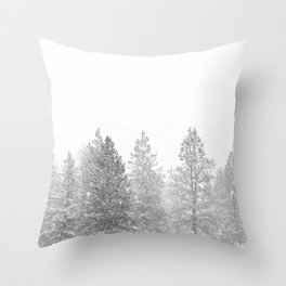 Snow Day // Black and White Winter Landscape Photography Snowing Whiteout Blizzard Throw Pillow
