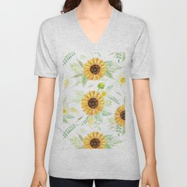 Watercolor Sunflower Bouquets   Pattern   Art Unisex V-Neck