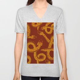 Red & Gold Snakes Unisex V-Neck